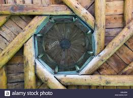 picture showing the architecture of an octagon shaped wooden roof