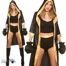 Boxer Halloween Costume Ladies Knockout Boxer Boxing Champion Fancy Dress Robe