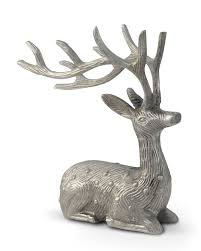Christmas Reindeer Statue Decorations by Aluminium Silver Sitting Reindeer Ornament Christmas Decoration