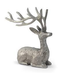 aluminium silver sitting reindeer ornament decoration