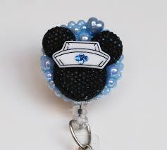 nurse minnie mouse black silhouette blue id badge reel