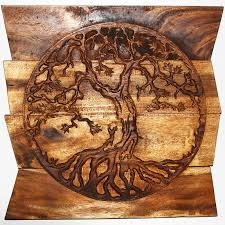 wall decor tree of carved wood panels in a walnut finish