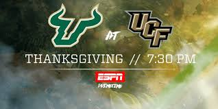 usf ucf rivalry moved to thanksgiving on espn of