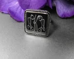 Monogram Rings Silver Square Monogram Ring Etsy