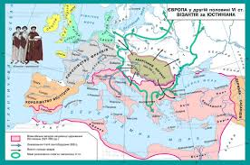 Byzantine Empire Map Europe In The Second Half Of Vi Century Byzantium By Justinian