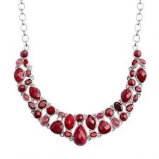 red necklace statement images Beautiful cranberry red corundum garnet and tourmaline sterling jpg