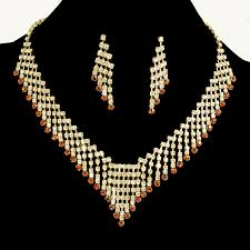 gold set for marriage wedding jewelry topaz rhinestones gold plated necklace set