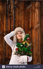 christmas in the country style relaxed and dreamy young woman in