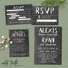 Chalkboard Wedding Invitations Chalkboard Wedding Invitation Suite With Funny Rsvp Mad Lib