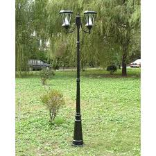 Solar Exterior Light Fixtures by Gama Sonic Victorian Double Solar Lamp Post Black Hayneedle