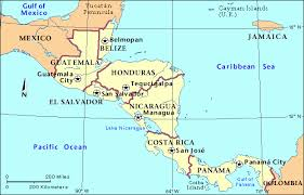 central america physical map map of mexico central america major tourist attractions