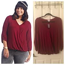 burgundy blouse seal plus plus size crossover front burgundy blouse from