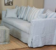 slipcovers for pull out sofa blue and white striped sofa slipcover couch sofa gallery