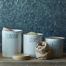 pottery canisters kitchen labeled kitchen storage canisters west elm