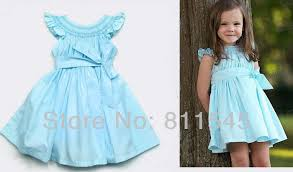 size 5t fashion casual blue baby dress big bowknot summer