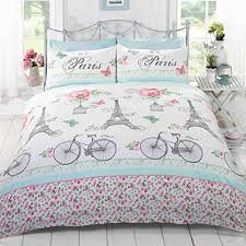 Green Double Duvet Cover Soft Pink Green Vintage Paris Eiffel Tower Theme Full Double
