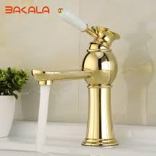 Gold Bathroom Fixtures by Bakala Gold Bathroom Faucets Single Holder Single Hole Brass Basin