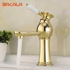 Gold Bathroom Fixtures by Bakala Gold Bathroom Faucets Single Holder Single Hole Brass Basin