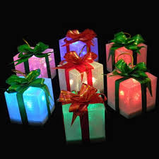 large lighted christmas bow lighted color changing gift box with bow 2 75 inches set of 12