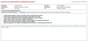 Inventory Job Description Resume by Chocolate Maker Cv Work Experience