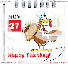 thanksgiving avatars clipart of a november 27th happy thanksgiving day calendar with a