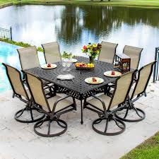 Outdoor Patio Dining Table by Madison Bay 9 Piece Sling Patio Dining Set With Swivel Rockers And