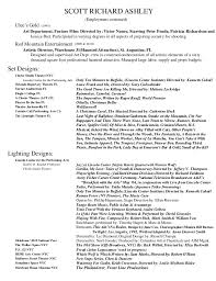 Theatre Resume Examples by Scott Ashley Theatre Design And Production Resume