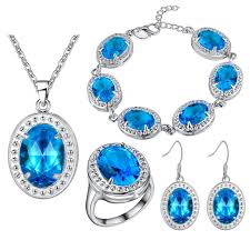 blue zircon jewelry necklace images Baby blue zircon 925 sterling silver jewelry sets wedding pendant jpg