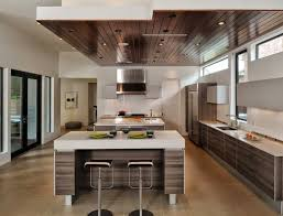 excellent false ceiling with white countertop for modern kitchen