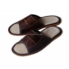 Leather Bedroom Slippers Peep Toe Brown Leather House Slippers Mules For Men No 333f