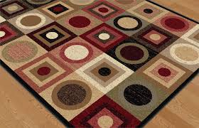 Black And Red Area Rugs by Modern Multi Geometric Circles Squares Area Rug Red Black