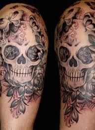 collection of 25 skull and roses tattoos on half sleeve