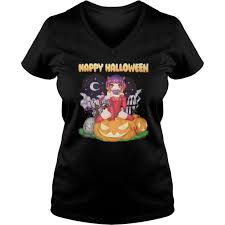angels and demons halloween party female demon in cemetery shirt