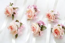 Wedding Wrist Corsage Pink Rose Corsage Pale Pink Hydrangea Boutonnieres Wrist