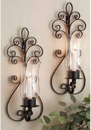 Flameless Candle Wall Sconce Set 2 Candle Wall Sconces Large Candle Sconce And Large Hurricane