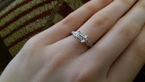 horizontal emerald cut engagement ring emerald cut moissanite engagement ring pics weddingbee page 3
