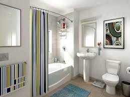 modern shower curtain with colorful lines in sleek bathroom