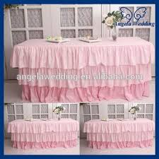 Pink Table Skirt by Sk006d For Sale Wedding Three Tiered Taffeta Banquet Ruffled