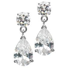cubic zirconia earrings o s 7 5 tcw cubic zirconia pear drop earrings