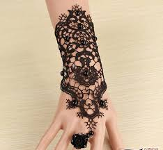 lace accessories 2018 retro exaggerated gloves black lace wedding