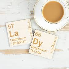 Unique Coasters Pair Of Wooden Periodic Table Coasters By Newton And The Apple