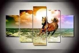 chambre de d馗ompression hd imprimé plage cheval peinture sur toile chambre décoration d