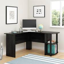 Edison Table L Desk Glass And Steel Desk Glass Computer Desk With Wheels Black