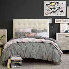 Duvet Covers Gray Organic Cotton Pintuck Duvet Cover Shams Feather Gray West Elm