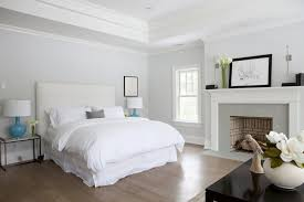 cozy master suite with blue gray paint color with bedroom tray