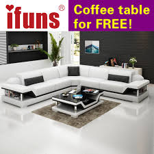 Sofa Sets For Living Room Online Shop Ifuns L Shape Corner White Cow Leather Chesterfield