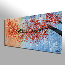 Bedroom Wall Canvases Abstract Art Love Birds Painting Canvas Wall Art Original