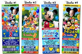 mickey mouse birthday party ticket photo invitations printable