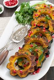 roasted acorn squash with pomegranate parsley foxes lemons