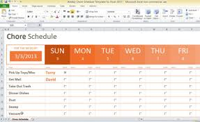 weekly chore schedule template for excel 2013 task list